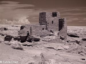 Ruin at Wapatki national Monument.  Purched on a small rock outcrop.